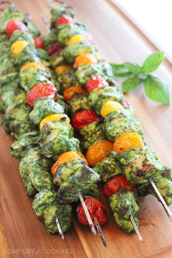 The Comfort of Cooking » Grilled Pesto Chicken and Tomato Skewers