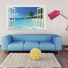 WS-001 Huge Removable Beach Sea 3D Window Scenery Wall Sticker Home Decor Decals Mural Free Shipping(China (Mainland))