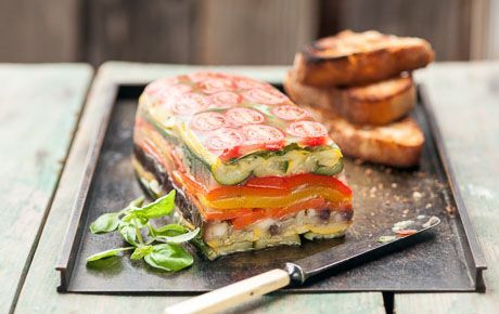 Packed with the summer's best produce, from tomatoes and squash to eggplant and basil, consider serving this elegant terrine on grilled garlic toast, topped with crumbled goat cheese or sliced alongside a fresh tomato sauce. For a homemade recipe through and through, make your own broth.
