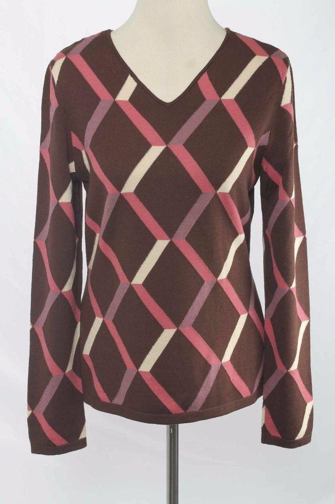 Adrienne Vittadini Size L Brown Wool Geometric Pattern V-Neck Sweater 1805 ST117    eBay