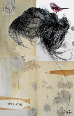 """Saatchi Online Artist Loui Jover; Drawing, """"iolanthe """" #art [This reminds me of my sister's painting, except the bird is on her hand she's kissing it...]"""