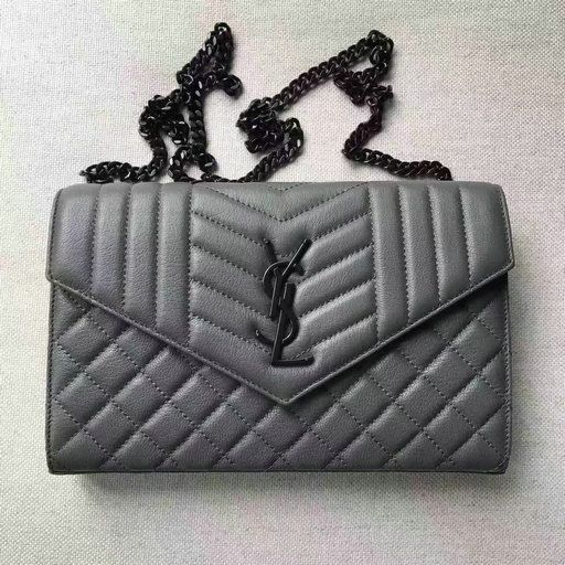 2017 S/S Saint Laurent Monogram Chain Wallet in Grey Mixed Matelassé Leather