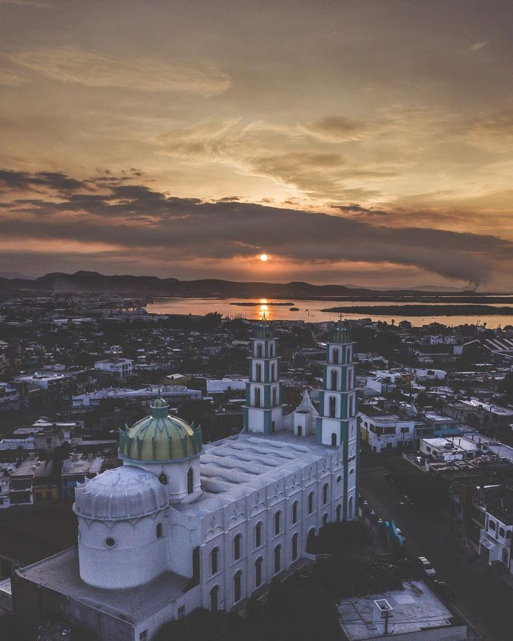 A cathedral greets the rising sun in Mazatlan Mexico