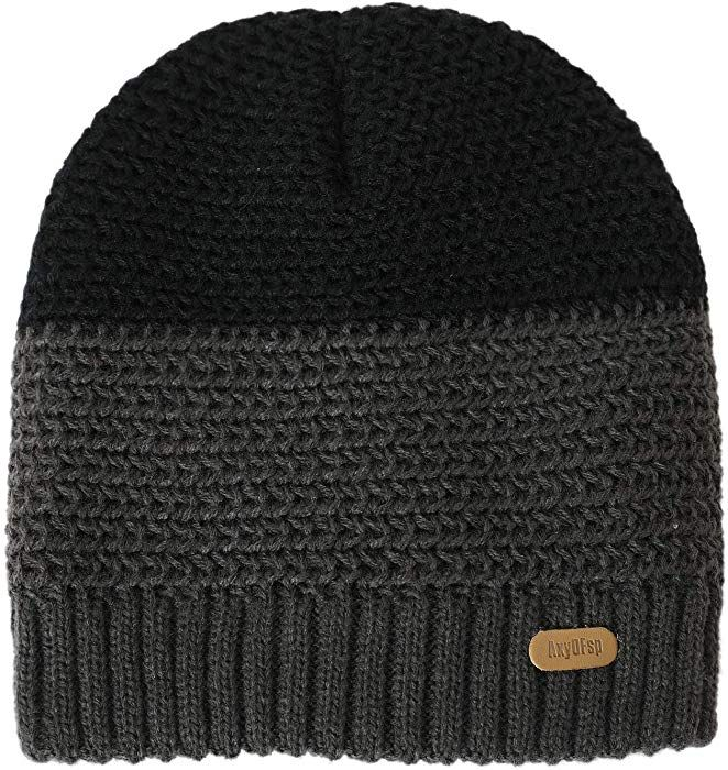 a07a1d0e4715a2 AxyOFsp Mens Winter Knit Beanie Thick Ski Daily Hat Warm Soft Cap at Amazon  Men's Clothing store: