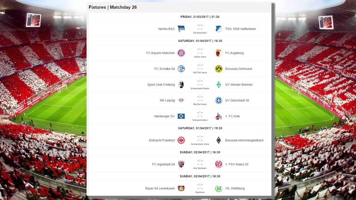 Matchday 25 Results, Table. Fixtures for MD 26 | Bundesliga 2016-2017