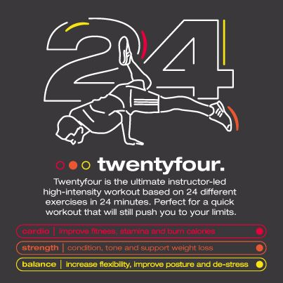 Twentyfour: the ultimate instructor-led high-intensity workout based on 24 different exercises in 24 minutes. Perfect for a quick workout that will push you to your limits.