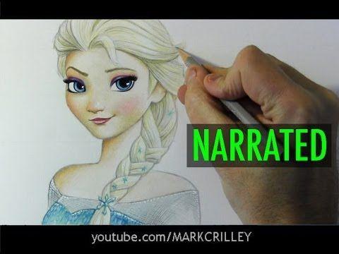 """How to Draw Elsa from """"Frozen"""" [Narrated Step-by-Step) Ihr könnt auch lernen wie man Olaf der Schneemann zeichnet auf youtube. Das ist wirklich super."""