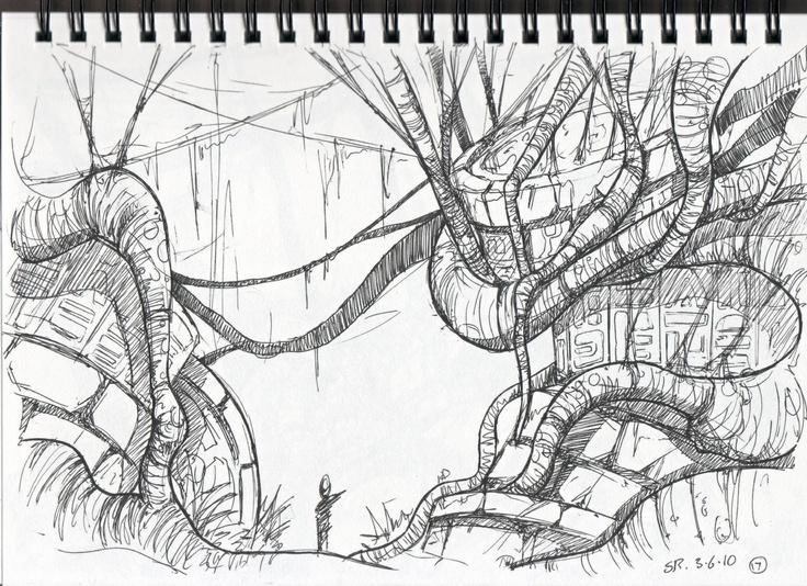 jungle_sketch_17.jpg (1600×1163) Sketches, Cool drawings