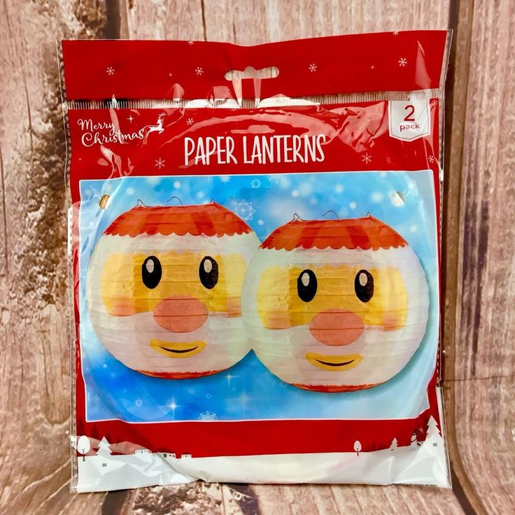 Christmas Paper Lanterns X2 santa father christmas decoration holidays parties