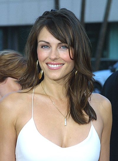 Elizabeth Hurley Brunette, Long Hairstyle with Bangs