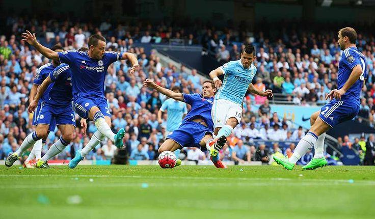Sergio Aguero scores -- Man City vs Chelsea 8-16-15