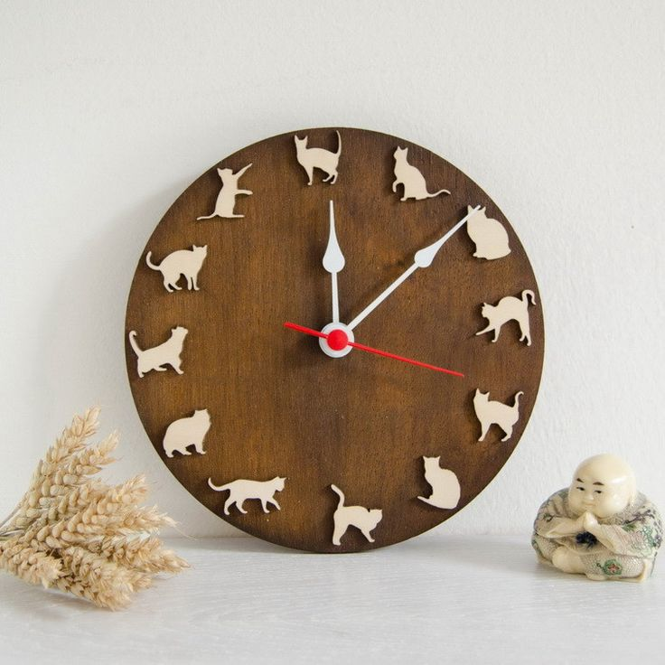 Wooden clock with playing cats, gift for children and pets lovers