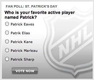 I like how they give two Blackhawks lol...I'd pick Patrick Sharp anyday :O)