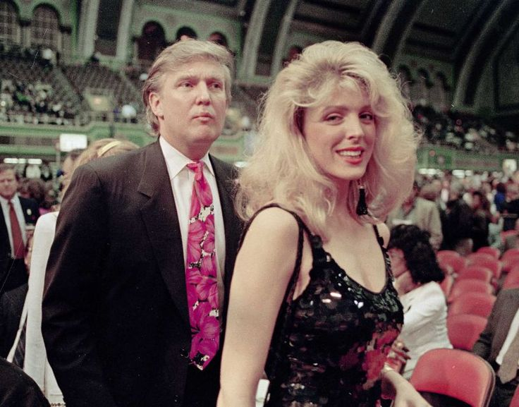 Donald Trump and his then-girlfriend Marla Maples at the Holyfield-Foreman fight at the Trump Plaza in Atlantic City, N.J., April 19, 1991