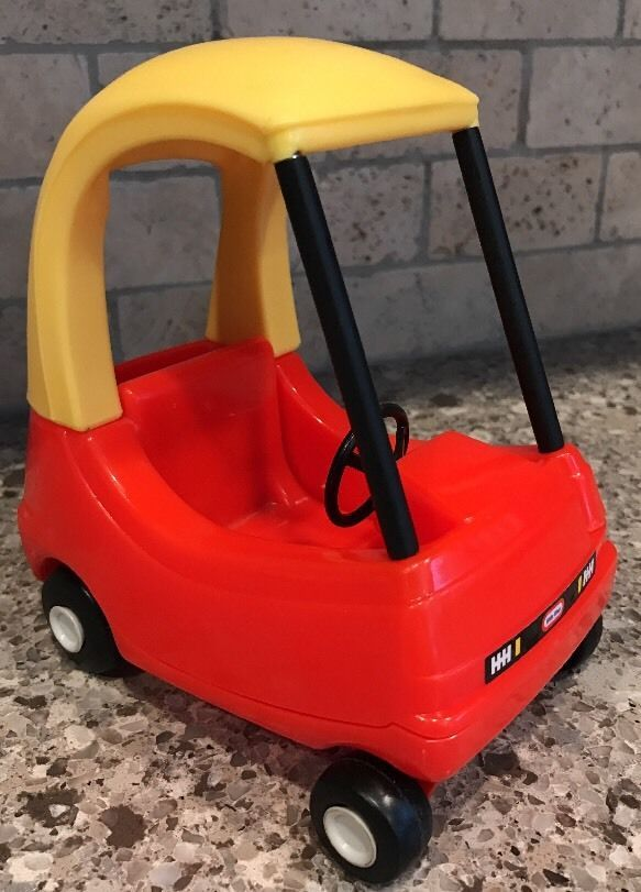 MINIATURE Vintage Little Tikes Blue Roof Dollhouse Cozy Coupe Car Red Yellow #LittleTikes