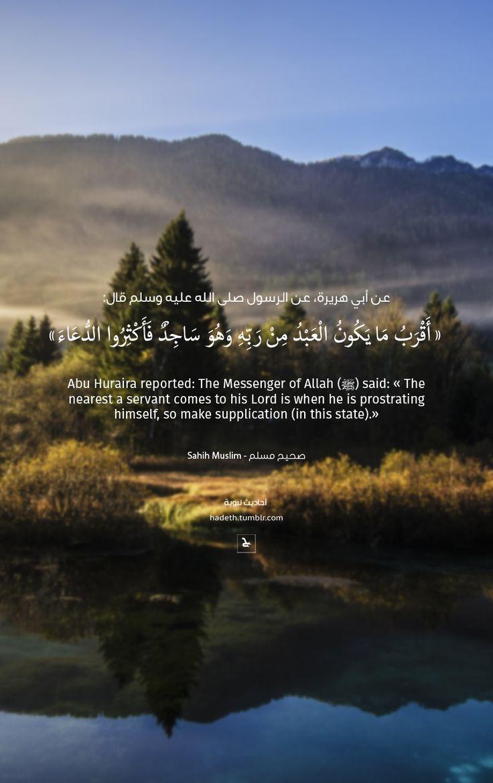 """hadeth: """" عن أبي هريرة، عن النبي صلى الله عليه وسلم قال: """"أَقْرَبُ مَا يَكُونُ الْعَبْدُ مِنْ رَبِّهِ وَهُوَ سَاجِدٌ فَأَكْثِرُوا الدُّعَاءَ """" صحيح البخاري Abu Huraira reported: The Messenger of..."""