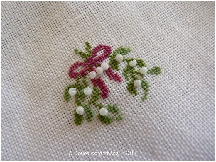 FINISHED PROJECT- mistletoe...would also be pretty with French knots instead of beads