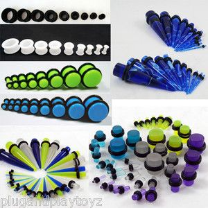 Acrylic Glow In The Dark Marbled Solid Metal Ear Taper/Plug Stretch Sets Expanding Kits Starting @ $10.50