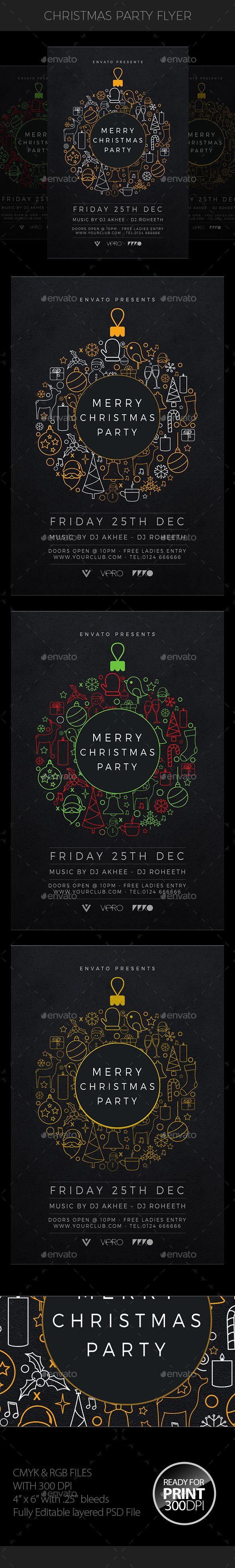 Christmas Party Flyer — Photoshop PSD #party #xmas • Available here → https://graphicriver.net/item/christmas-party-flyer/18801547?ref=pxcr