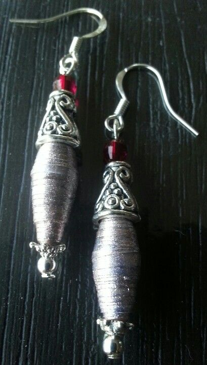 Exclusive paper bead jewelry! !!Earrings made with paper beads now on sale!  Auction starting from $0.99!!! http://www.ebay.com.au/itm/Antique-silver-toned-light-brown-paper-bead-dangle-earrings-/300860589794