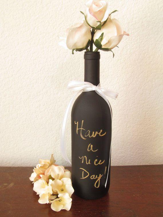 Chalkboard Wine Bottle / Wedding Table by TreasuredCelebration