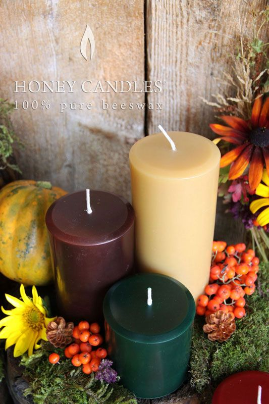 Pure Beeswax pillars by Honey Candles®