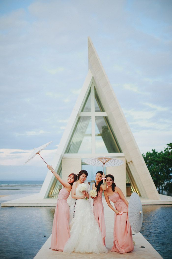 Infinity chapel conrad bali with the bride and bridesmaids..Photo by Terralogical. www.theweddingnotebook.com