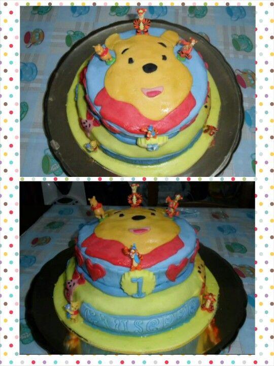 Primo compleanno dell'amore di zia.. 1 anno #winniethepooh #cake #mascarpone #nutella #pastadizucchero