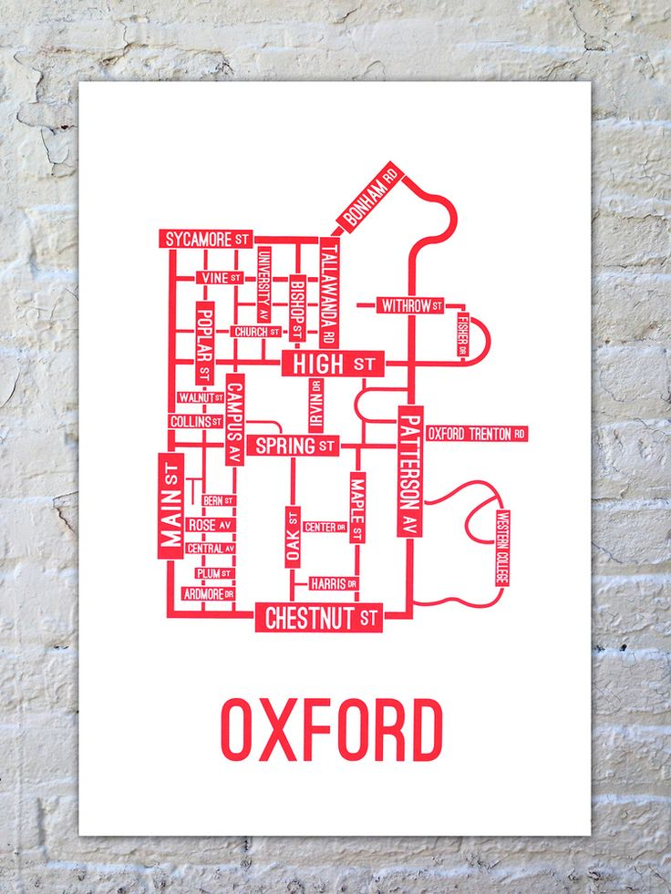 Oxford, Ohio Street Map Poster | School Street Posters