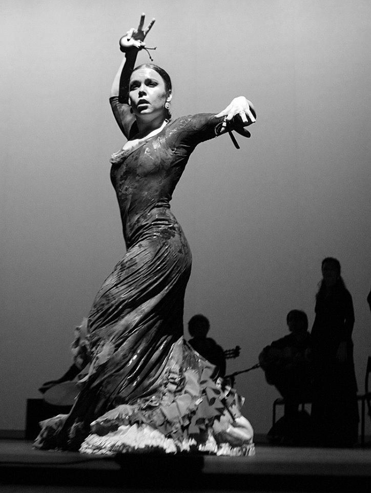 Black and white flamenco dress