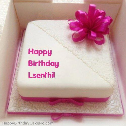 write name on Pink Happy Birthday Cake