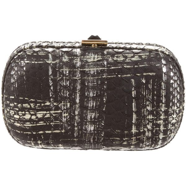Pre-owned Kara Ross Python Box Clutch (12.405 RUB) ❤ liked on Polyvore featuring bags, handbags, clutches, black, hand bags, python handbags, metallic clutches, snake print handbags and chain handle handbags