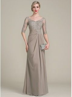 A-Line/Princess V-neck Floor-Length Chiffon Lace Mother of the Bride Dress With Ruffle (008102681)