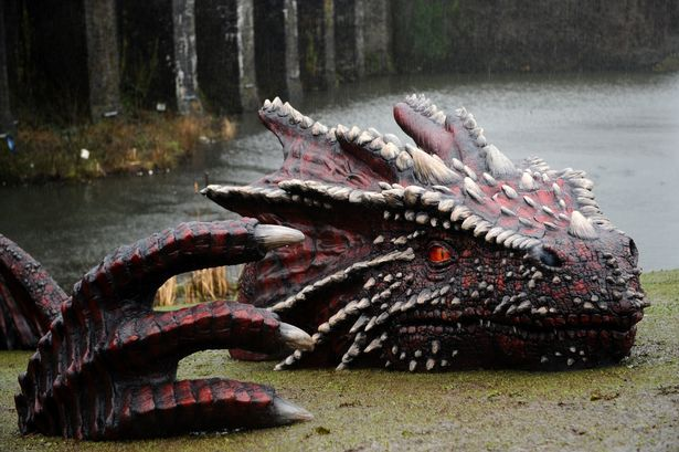 The dragon in place at Caerphilly Castle