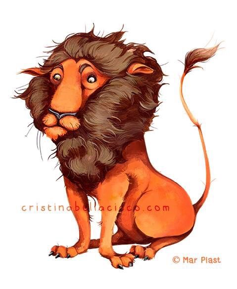 """""""The Cowardly Lion"""" illustration Colored Edition by Mar Plast © Cristina Bellacicco"""