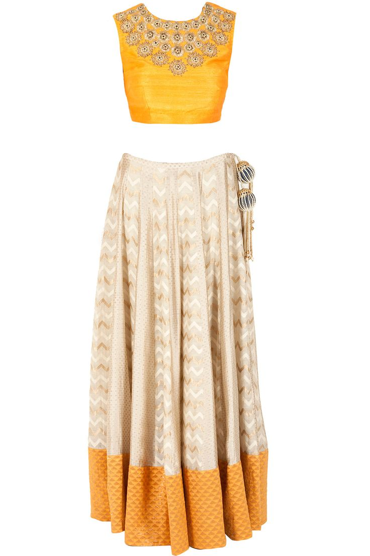Beige paneled lehenga with yellow choli available only at Pernia's Pop-Up Shop.