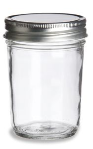 Eco Mason Tapered Glass Jar 8 oz w/ Silver Lid, $0.88 each for 1-119, and cheaper from more than that!