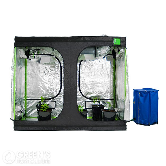 """The Green Qube GQ1224 grow tent is ideal for those wanting a medium to large sized growing environment. Measuring 120cm x 240cm x 220cm, the wide design is particularly suitable for growers with a lot of horizontal space to work with. Equipped with some of the strong tent poles available on the market and coming complete with simple, """"easy-click"""" assembly, this grow tent is packed full of thoughtful design elements."""