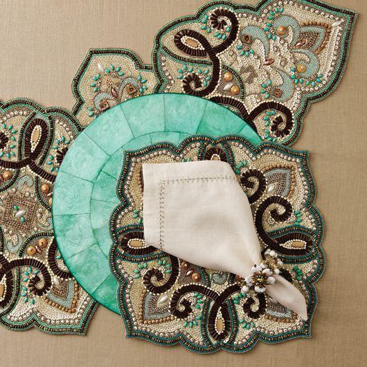 Аксессуры для сервировки стола, расшитые бисером от Kim Seybert - Ярмарка Мастеров - ручная работа, handmade