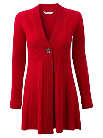 Buy East Pleated Long Cardigan, Scarlet online at JohnLewis.com - John Lewis