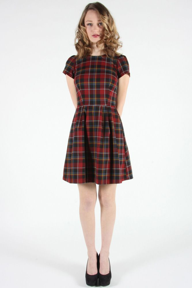 Woodnymph Dress Red by Birds of North America.  Lined plaid dress.
