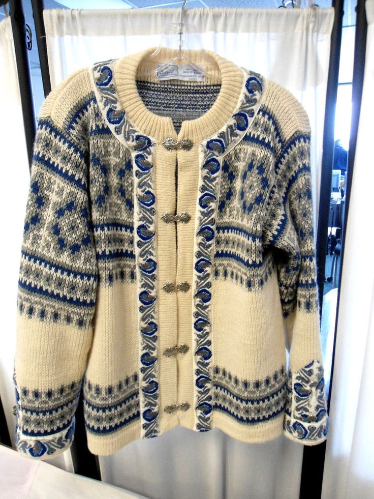 VTG 100% Wool ski cardigan  Siril Sweater Shop blue ivory/gray #Siril #Cardigan