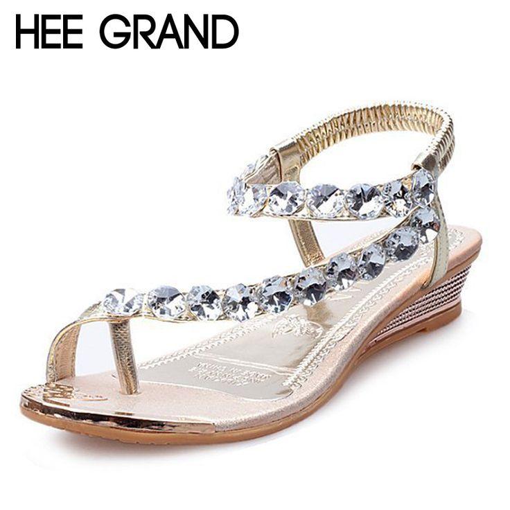 Hee grand 여름 샌들 블링 라인 석 플랫 여성 플랫폼 웨지 샌들 패션 플립 편안한 신발 여성 xwz791