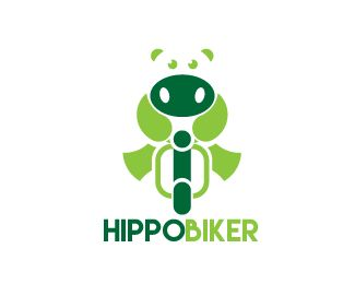logo hippobiker Logo design - this logo for transportation company with hippo and scooter Price $130.00