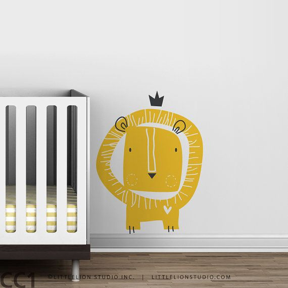 Baby Zoo Lion King Wall Decal  Yellow Gold White  by LeoLittleLion, $49.00