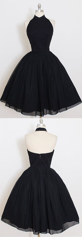 2017 Custom Made Black Chiffon Prom Dress,Halter Homecoming Dress,Short /Mini Party Dress,High Quality Prom Dress,Sweet 16 Cocktail Dress,Homecoming Dress
