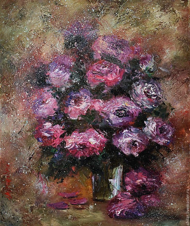"""Купить """"Просто розы"""" картина маслом - коричневый, розовый, розы, фиолетовые, розы в вазе"""