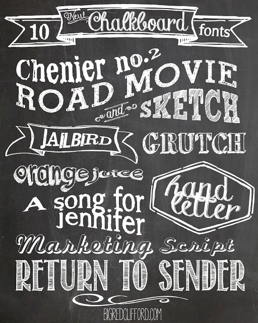 free chalkboard fonts & free printables