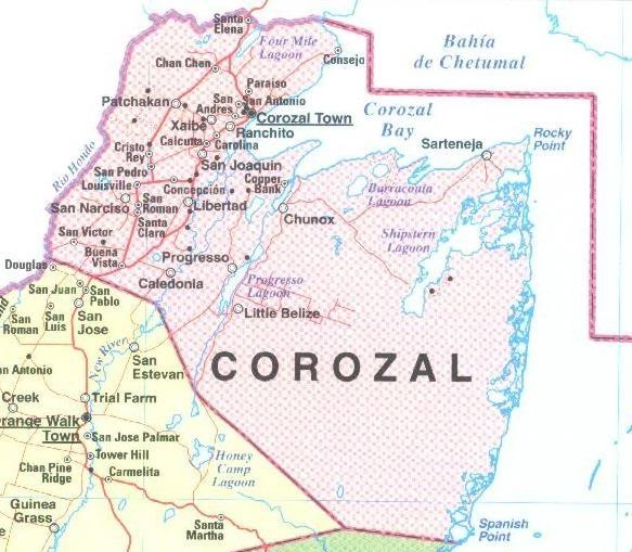 Corozal Town | size huge corozal town corozal size map showing corozal town in ...