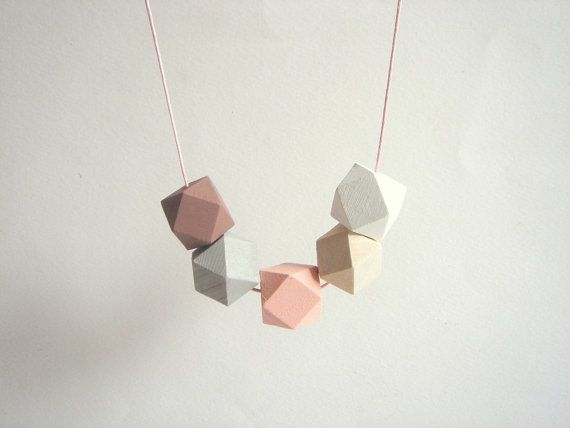 Pastel Geometric Necklace ,Handpainted Wood Geometric Necklace,Geometric Jewelry